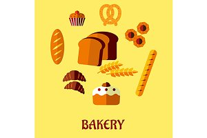 Bakery flat icon set on yellow backg