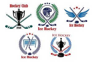 Ice hockey heraldic emblems and badg