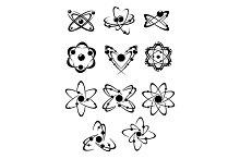 Atoms or molecules symbols