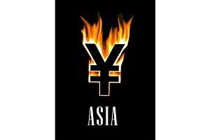 Flaming yen currency symbol