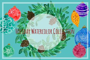 Holiday Watercolor Clip Art