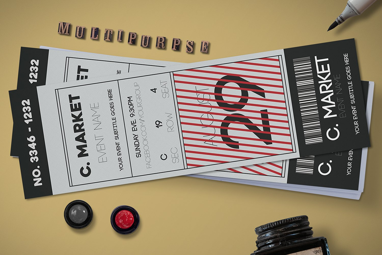 black white event ticket card templates creative market