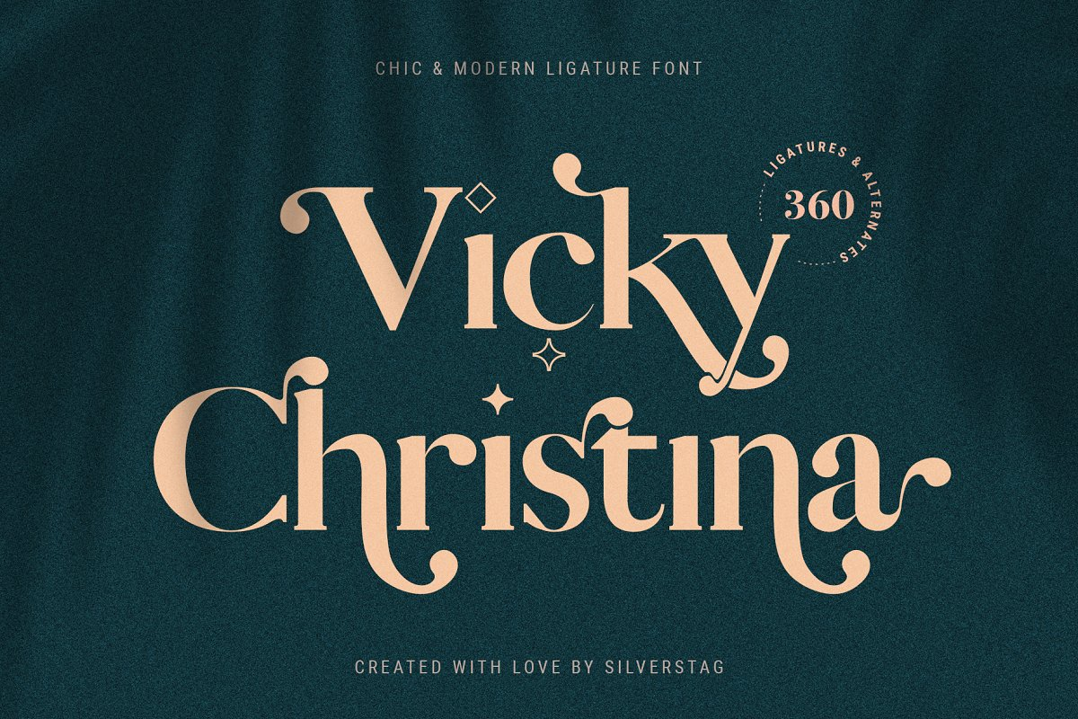 Vicky Christina Ligature Serif Font in Serif Fonts - product preview 8