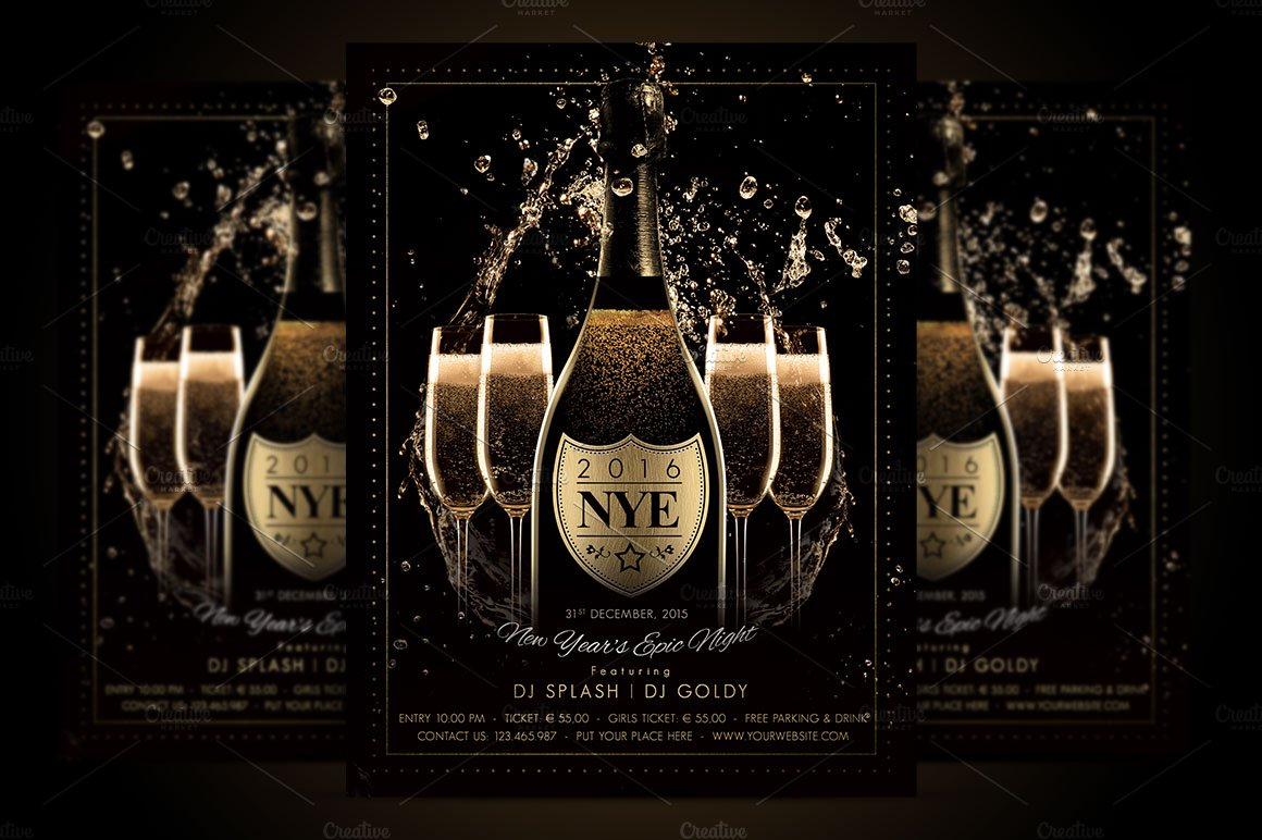 nye new year flyer champagne night flyer templates creative market