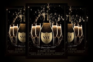 nye new year flyer champagne night