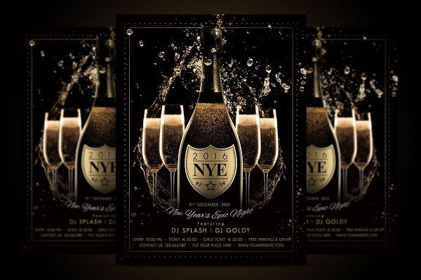 NYE New Year Flyer - Champagne Nigh…