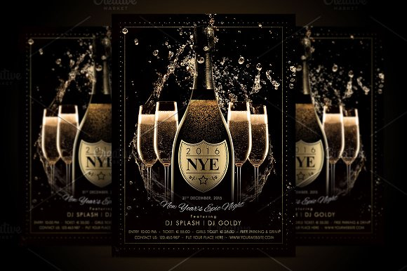 nye new year flyer champagne night flyers