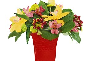 Colorful flower bouquet from orchids