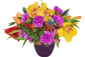 Floral bouquet of orchids, gladiolus