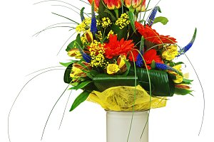 Colorful bouquet from roses and gerb