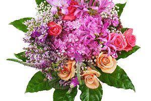 Floral bouquet of roses, lilies and