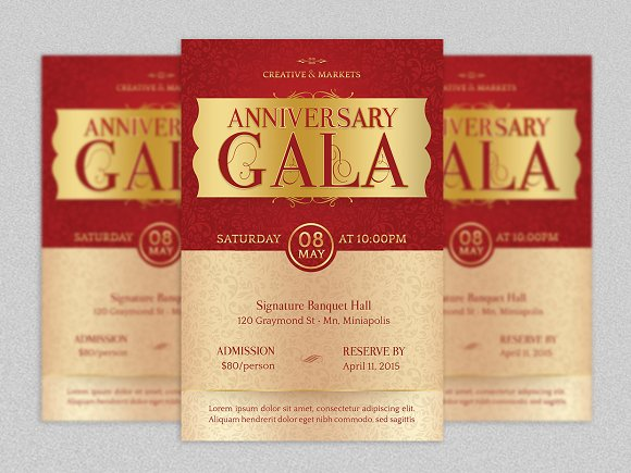 anniversary gala flyer template flyer templates creative market