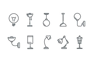 Lamp line icons.