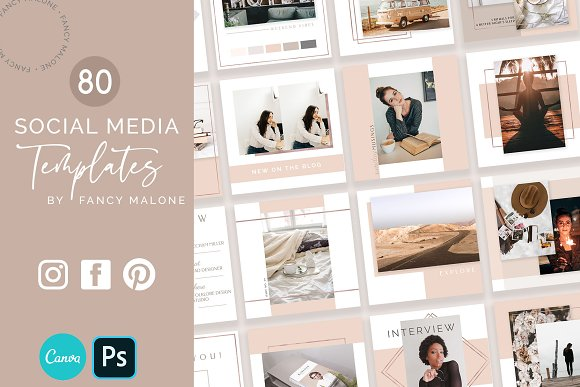 Rose Gold Social Media Bundle Canva in Instagram Templates - product preview 7