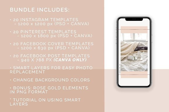 Rose Gold Social Media Bundle Canva in Instagram Templates - product preview 8