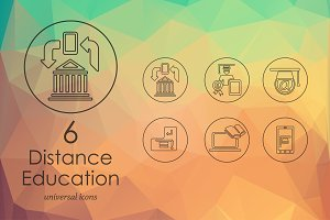 6 distance learning icons