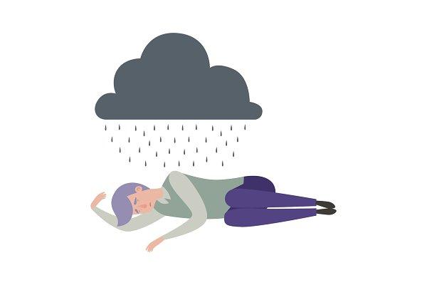 Man Sleep Depression Sad Alone Pre Designed Vector Graphics Creative Market
