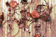 Still-life of rusty metal items on w