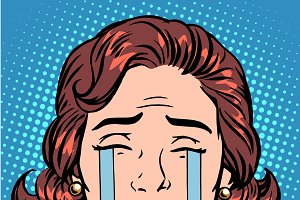 Retro Emoji tears crying woman face
