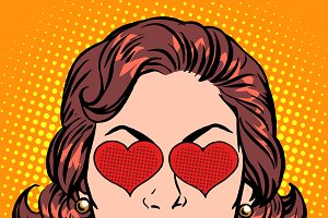 Retro Emoji love heart woman face