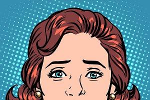 Retro Emoji sadness woman face