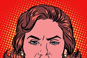 Retro Emoji rage anger woman face