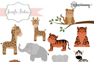 Jungle Babies Clipart and Vectors