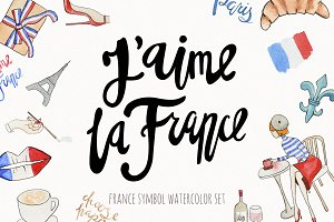 France watercolor and lettering set