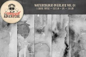 Watercolour Overlays Vol.01