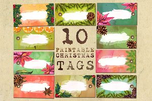 Christmas printable tags - set of 10