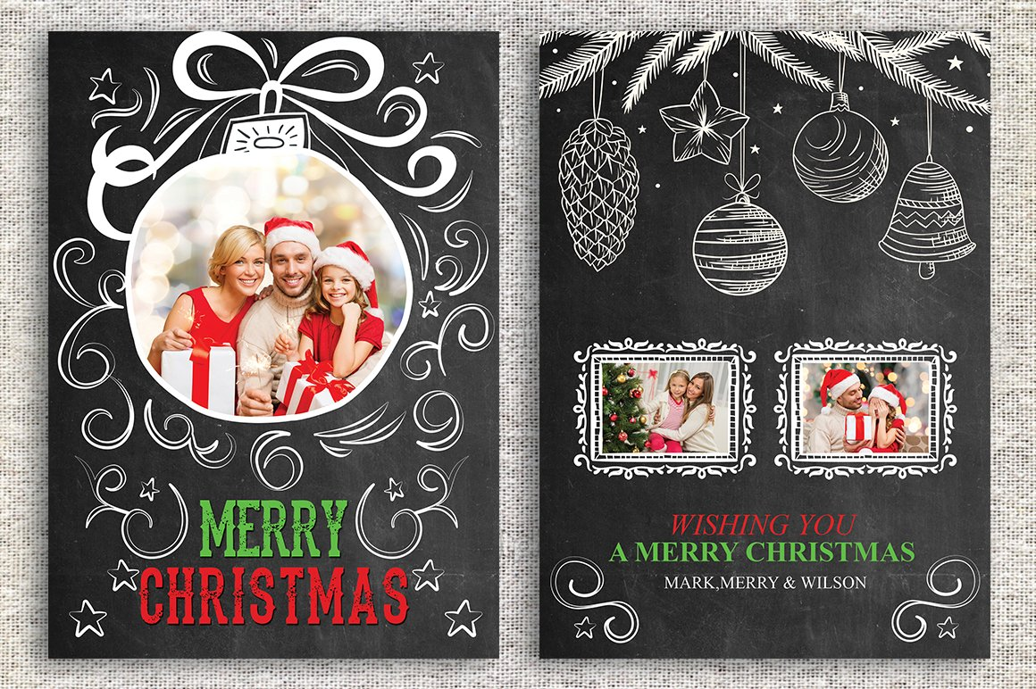 Christmas Card Template ~ Card Templates ~ Creative Market