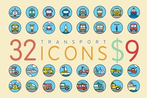 32 Flat Transport Icons