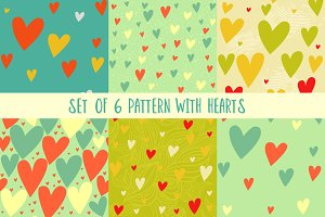 Set of pattrens with hearts