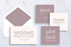 Set of Simple Wedding Invitation
