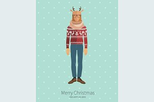 Christmas Deer in flat style.