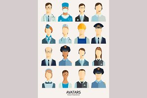 Set of avatar icons. Professions.