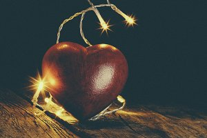 Heart and Christmas bulbs