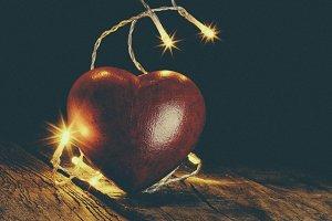 Heart and Christmas bulbs