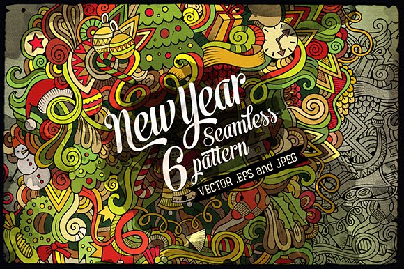New Year Seamless Patterns