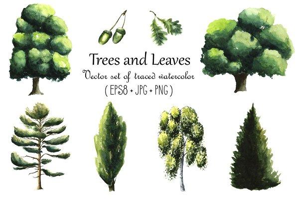 Watercolor trees.