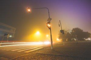 Car Lights & Crossroad Traffic Light