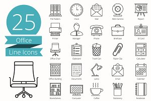25 Office Line Icons