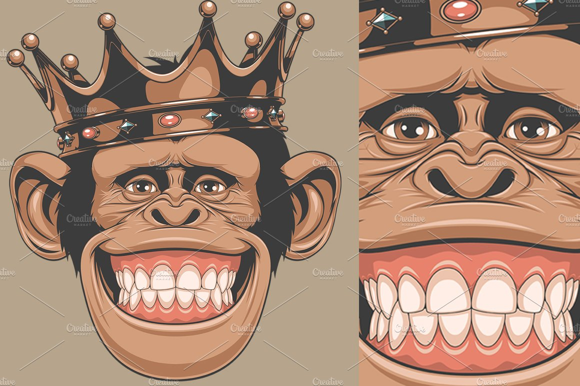 Funny Monkey Crown Illustrations Creative Market