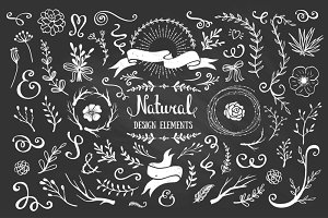 Natural hand drawn chalk elements
