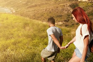 Couple hiking on a summer day