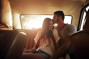 Relaxed young couple on a road trip