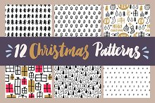 12 Hand Drawn Christmas Patterns