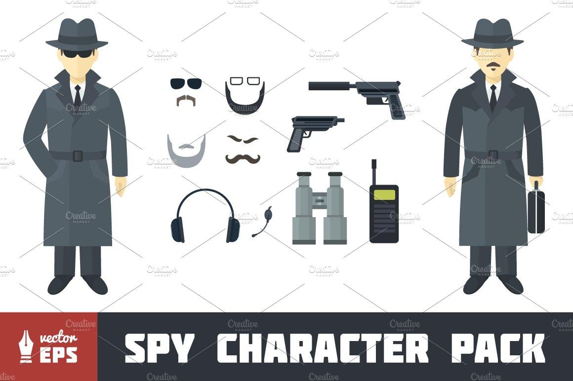 I Spy Cartoon Characters : Spy character pack illustrations creative market