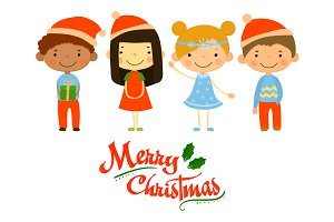Cute kids and Christmas elements