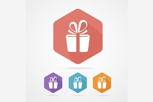 Gift Gox Sign Icon Set. Present